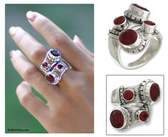 Indonesian Sterling Silver and Garnet Wrap Ring - Garnet Comet Garnet Rings, Size 10 Rings, Birthstones, Sterling Silver Rings, Gems, Stuff To Buy, Jewelry, Jewlery, Birth Stones