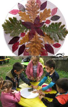 Autumn mandalas Autumn Crafts, Autumn Art, Nature Crafts, Harvest Activities, Autumn Activities, Leaf Crafts, Handprint Art, Middle School Art, Outdoor Art