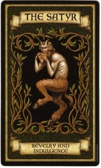 "The ""Satyr"" tarot card from ""Madame Endora's Fortune Cards"", symbolizing revelry and indulgence Fortune Cards, Fortune Telling Cards, Arte Black, Angel Cards, Tarot Spreads, Tarot Readers, Oracle Cards, Book Of Shadows, Tarot Decks"