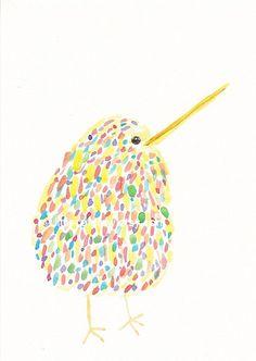 Bird Watercolor Print Cuddly Rainbow Kiwi Bird by Littlecatdraw