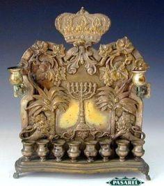 Rare WMF Norblin Brass Hanukkah Menorah, Warsaw, C1900