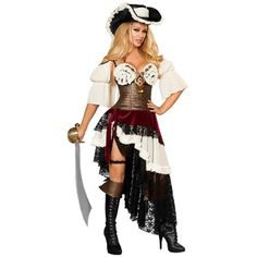 Roma Costume- -Sexy Pirateer Costume Adult Womens Pirate Wench Halloween Fancy Dress