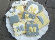 modern yellow and gray baby cookies - Google Search