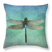 Blue Dragonfly Throw Pillow by Inspired Arts
