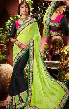 Picture of Magnificent Green and Black Wedding Saree