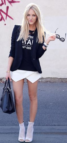 Street style -love the black blazer, t-shirt & white bottom with heels!