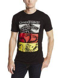 HBO'S Game of Thrones Men's 3 House Symbols Tee, Black, X-Large  #TShirt #Men's #GameofThrones