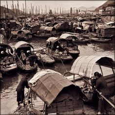 Fisher Families With Junks In Aberdeen Harbor, Hong Kong Island [c1946] Hedda Morrison