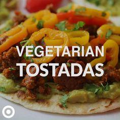 Tasty Vegetarian Recipes, Vegan Dinner Recipes, Veggie Recipes, Mexican Food Recipes, Beef Recipes, Cooking Recipes, Healthy Recipes, Tostada Recipes, Vegan Foods