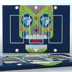 DIY Do It Yourself Home Decor - Easy to apply wall plate wraps | Greedy Sugar Skull  Green sugar skull on blue  wallplate skin sticker for 3 Gang Decora LightSwitch | On SALE now only $5.95