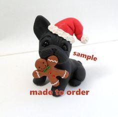Estatuilla de Navidad de Bulldog Francés negro por Raquel en theWRC mano esculpida arcilla polimérica Collectible