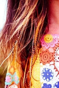 boho hippy feather hair