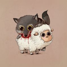 """Illustrator and designer Alex Solis offers an adorable version of the circle of life in his series of cartoons called """"Predator vs. Art And Illustration, Art Illustrations, Cute Owl Drawing, Sheep Drawing, Alex Solis, Lapin Art, Gato Anime, Cute Sheep, Chicago Artists"""