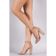 Suede Open Toe Ankle Strap Chunky Heel (1,220 HNL) ❤ liked on Polyvore featuring shoes, pumps, nude, nude suede shoes, open-toe pumps, open toe shoes, chunky heel shoes and wide heel pumps