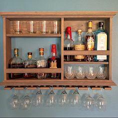 Mini Bar, Weathered Gray, wine rack, liquor cabinet, X Minimalist style bar ( SKU # ) Bar Deco, Red Mahogany Stain, Diy Home Bar, Mini Bar At Home, Small Bars For Home, Wall Mounted Bar, Deco Table Noel, Home Bar Designs, Rack Design
