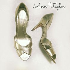 $13 if bundled! Ann Taylor metallic gold heels Beautiful stand out heels! Genuine leather upper and sole.   Some scuffs on the back. I think the scuffs are a little exaggerated in the pictures and depending on how the light hits them, may not be too noticeable because they are metallic. See 2nd & 3rd pics vs. the last pic, top left. Reflected in price.   The insoles & toes are in excellent condition! You're going to LOVE these!  See the current Sale ad at the top of my closet ⭐ or Make an…