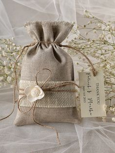Add your favorite goodies for an instant favor to offer your guests. Natural Rustic Linen Wedding Favor Bag with Burlap ~~~~~~~~~~~~~