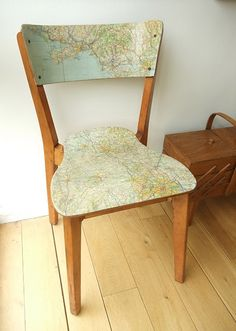modge podge an old map to a chair--I love map crafts Decoupage Furniture, Furniture Projects, Furniture Makeover, Home Projects, Painted Furniture, Diy Furniture, Map Projects, Painted Chairs, Painted Tables