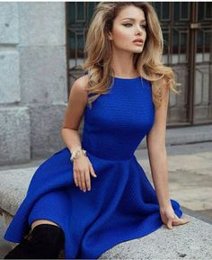 Chic look | Royal blue dress with over the knee boots