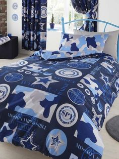 SINGLE or DOUBLE Blue Camouflage Spy Reversible Doona Cover Set