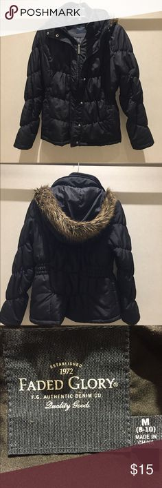 Black faux fur hood coat faux fur trimmed hood on black coat!! This is a great condition coat. Someone will enjoy this one!! Faded Glory Jackets & Coats Puffers