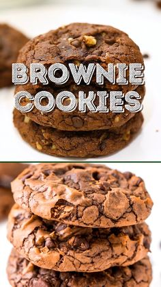 These Brownie Cookies are made from an adapted brownie box mix and are loaded with chocolate chips! They have a crisp outer edge and chewy fudge center just like a classic brownie! Cookies from a box Brownie Cookies Brownie Mix Recipes, Chocolate Brownie Cookies, Cake Mix Recipes, Baking Recipes, Cookie Recipes, Chocolate Chips, Dessert Recipes, Brownie Cookies From Box, Big Cookie Recipe