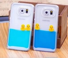 Cute 3d Cartoon Duck Tank Liquid Aquarium Swimming Case for Samsung Galaxy Note 5 S6 S6 Edge S6 Edge Plus