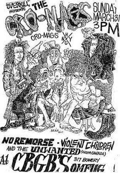 The Cro-Mags, Violent Children punk hardcore flyer