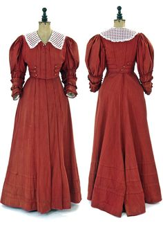 Tailored dress, Bohemia, ca. 1905. Two pieces, hand-sewn cotton. Short fitted bodice w/low V-neck front with 7 hidden snap hooks. Front & back trimmed w/vertical tucks and 3 horizontal strips sewn with tiny pearl buttons. ¾ sleeves trimmed with pleated ruffles. Long bell skirt, extended in back, with vertical & horizontal tucks. Bodice lined in cream silk. North Bohemian Museum in Liberec via eSbírky.cz