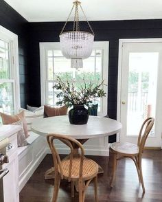 Black shiplap is a big YES in my opinion! My friend Erin from theheartandhaven recently replaced her wallpaper with this dramatic and painted in Black Panther Style At Home, Home Interior, Interior Design, Sweet Home, Dining Room Design, Home Fashion, Home Kitchens, Room Decor, House Styles