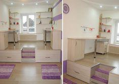 Boy And Girl Shared Room, Girl Room, Small Room Bedroom, Home Bedroom, Living Room Elevation, Kids Beds With Storage, Bedroom Divider, Ideas Dormitorios, Platform Bedroom