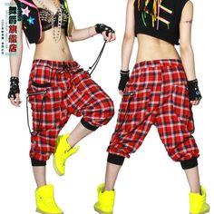 New fashion Women Hip hop Trousers dance wear pants patchwork thin ds costume loose casual female thin plaid  harem sweatpants $28.59