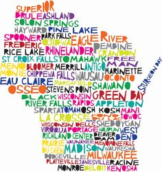Large WISCONSIN Digital illustration Print of Wisconsin State with Cities Listed. $20.00, via Etsy.
