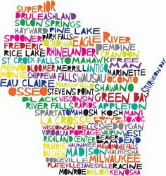 WISCONSIN Digital illustration Print of Wisconsin by mollymattin. $15.00 USD, via Etsy.