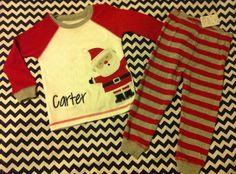 Boys Santa Claus Christmas pajamas set boy toddler 12m 24m 2T 3T 4T PJs stripe Custom name Personalized Embroidered Applique on Etsy, $24.99