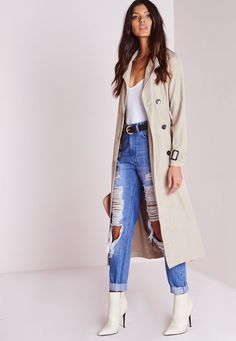 Missguided - Double Breasted Longline Trench Coat Stone