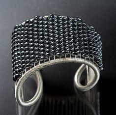 Hematite Cuff: Tana Acton: Silver & Stone Bracelet   Artful Home