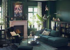 VIMLE 3-zitsbank met open eind | IKEA IKEAnl IKEAnederland inspiratie wooninspiratie interieur wooninterieur bank zitbank nieuw kamer woonkamer sofa modulair veelzijdig opbergen opberger persoonlijk STRANDMON fauteuil stoel oorfauteuil donkergroen groen