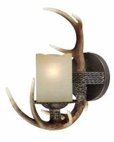 Faux AntlFaux Antler 1 Light Wall Sconce with Black Walnut finish and Cognac glass. For indoor locations.er 1 Light Wall Sconce Antler Sconce
