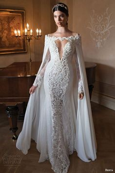 berta bridal 2015 off the shoulder long sleeve sheath wedding dress cape