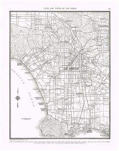 Antique Map LOS ANGELES 1935 Map Page  by KnickofTime I was born in Los Angeles
