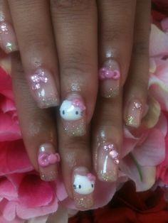 hello kitty finger nails