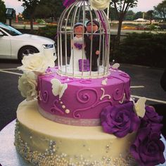 Purple and Ivory Themed Wedding Cake