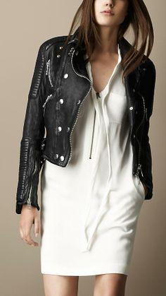 Burberry Brit Washed Leather Biker Jacket