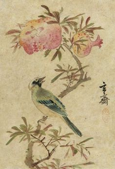 (Korea) 화조도 by Hyeonjae Shim Sa-jeong (1707-1769). color on paper. Private collection.
