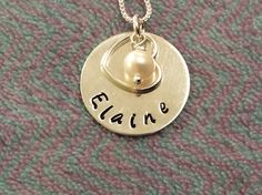 Girls name hand stamped on a silver disc with pearl and silver open heart Hand Stamped, Washer Necklace, Unique Gifts, Pearls, Chain, Silver, Jewelry, Jewlery, Money