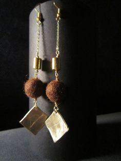 Bronze earrings and wool
