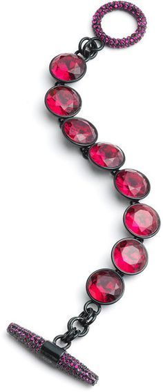 JUICY COUTURE Red Gemstone Pave Toggle Bracelet