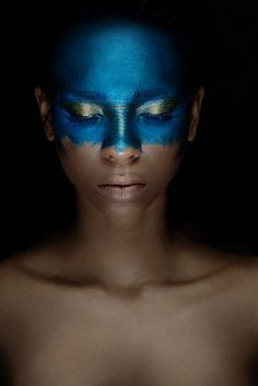 Blue tribal painted mask. #tribal #art #creative #mask #face-paint #inspiration