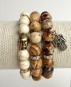 Stretch Bracelet Set, Beaded Bracelets, Buddha Bracelet, Hamsa Hand Bracelet, Semi-Presciuos Gemstones, Agate, Jasper